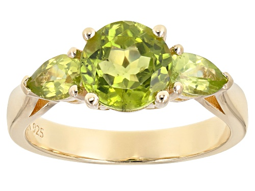 Photo of 2.60ctw round & pear shape Manchurian Peridot™ 18k yellow gold over sterling silver 3-stone ring - Size 10
