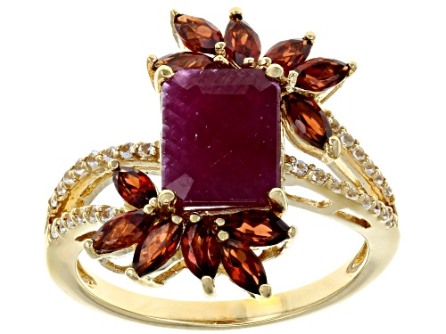 Photo of 1.95ct Indian Ruby with 1.02ctw Vermelho Garnet™ & .10ctw White Topaz 18k Gold Over Silver Ring - Size 7