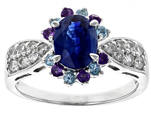 Photo of 1.34ct Kyanite w/ .56ctw Swiss Blue Topaz, African Amethyst & White Zircon Rhodium Over Silver Ring - Size 10
