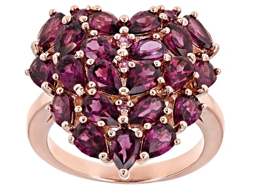 Photo of 4.95ctw Pear Shape & Round Raspberry Color Rhodolite 18k Gold Over Silver Heart Shape Ring - Size 8