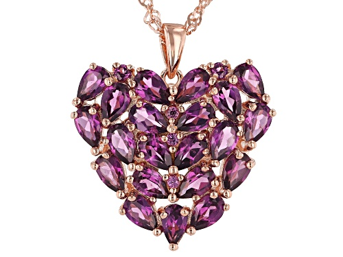 Photo of 4.95ctw Pear Shape & Round Raspberry Color Rhodolite 18k Gold Over Silver Heart Pendant W/ Chain