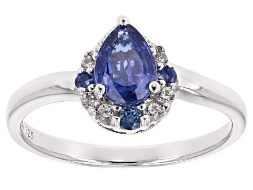 Photo of .76ct pear shape kyanite with .14ctw round blue sapphire and white zircon rhodium over silver ring - Size 9