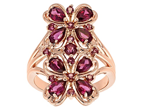 Photo of 2.21ctw Pear Shape & Round Raspberry Color Rhodolite 18k Rose Gold Over Silver Ring - Size 7