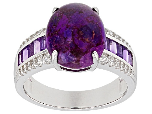 Photo of 12x10mm oval purple turquoise with .51ctw amethyst and .28ctw white zircon rhodium over silver ring - Size 7