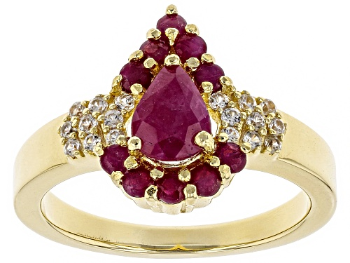 Photo of 1.07ctw Pear Shape & Round Burmese Ruby W/ .26ctw Zircon 18k Yellow Gold Over Silver Ring - Size 9
