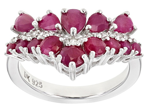 Photo of 2.27ctw Pear Shape & Round Burmese Ruby W/.27ctw White Zircon Rhodium Over Silver Chevron Ring - Size 8