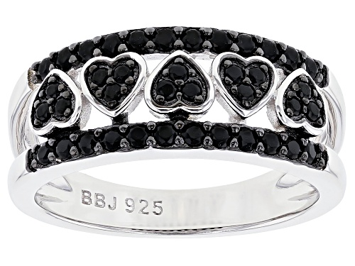 Photo of .39ctw round black spinel rhodium over sterling silver heart detail band ring - Size 8