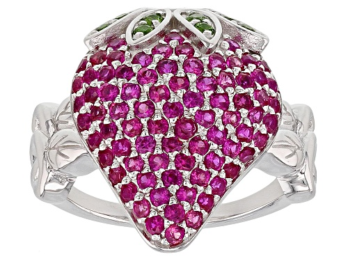 Photo of 1.40ctw Lab Pink Sapphire and .12ctw Russian Chrome Diopside Rhodium Over Silver Strawberry Ring - Size 8
