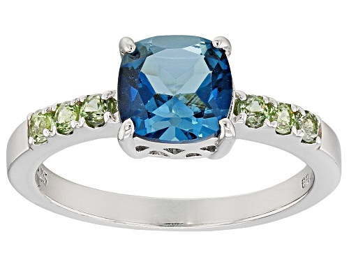 Photo of 1.42CT SQUARE CUSHION LONDON BLUE TOPAZ WITH .22CTW GREEN SAPPHIRE RHODIUM OVER STERLING SILVER RING - Size 9