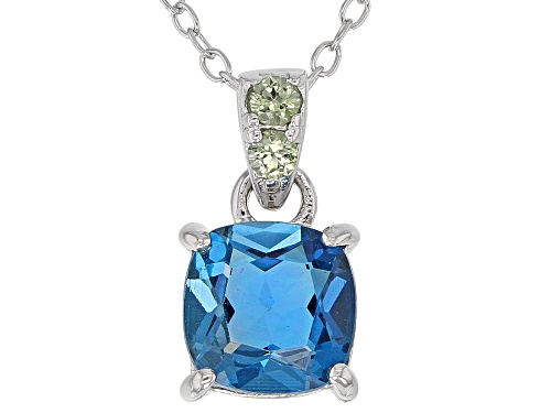 Photo of 1.43CT SQUARE CUSHION LONDON BLUE TOPAZ & .07CTW GREEN SAPPHIRE RHODIUM OVER SILVER PENDANT/CHAIN