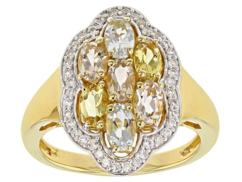 Photo of 1.22ctw Aquamarine, Morganite & Yellow Beryl with .33ctw White Zircon 18k Gold Over Silver Ring - Size 9