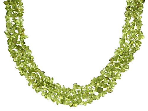 Photo of Mixed Shape Manchurian Peridot(TM) Sterling Silver Multi-Row Chip Necklace - Size 19