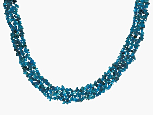 Photo of Mixed Shape Neon Apatite Sterling Silver Multi-Row Chip Necklace - Size 19