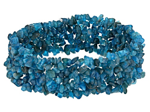 Photo of Mixed Shape Neon Apatite Multi-Row Chip Stretch Bracelet - Size 7.5