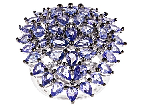 Photo of 5.50ctw Pear Shape & Round Tanzanite With .05ctw Zircon Rhodium Over Silver Cluster Ring - Size 6