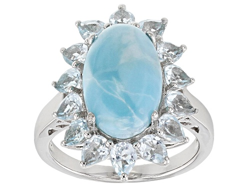 Photo of 14x9mm Oval Larimar with 2.95ctw Pear Shape Glacier Topaz™ Rhodium Over Sterling Silver Ring - Size 8