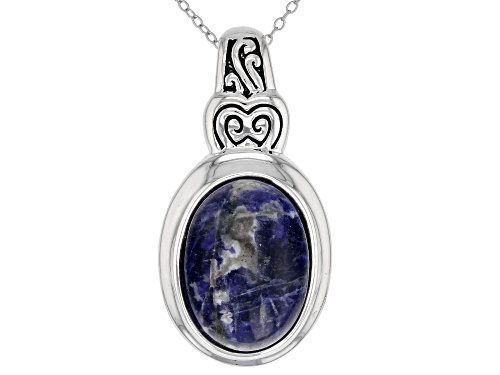 Photo of 18x13mm Oval Sodalite Solitaire Sterling Silver Slide With Chain