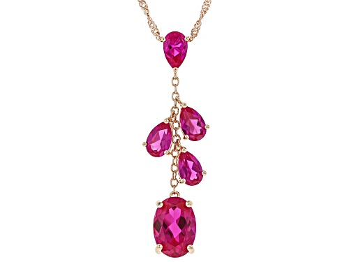 Photo of 7.82ctw Oval & Pear Shape Lab Created Pink Sapphire 18k Rose Gold Over Silver Pendant W/ Chain