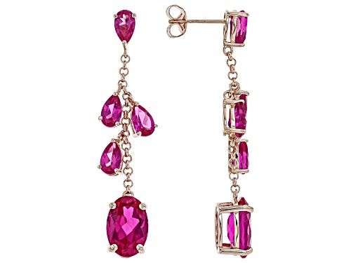 Photo of 11.05ctw Oval & Pear Shape Lab Created Pink Sapphire 18k Rose Gold Over Silver Earrings