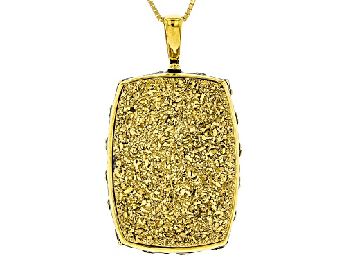 Photo of 25x18mm Rectangular Cushion Golden Color Drusy Quartz 18k Gold Over Sterling Silver Pendant w/ Chain
