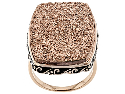 Photo of 25x18mm Rectangular Cushion Rose Color Drusy Quartz 18k Rose Gold Over Sterling Silver Ring - Size 7