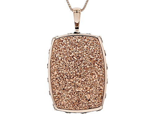 Photo of 25x18mm Rose Color Drusy Quartz 18k Rose Gold Over Sterling Silver Pendant with Chain