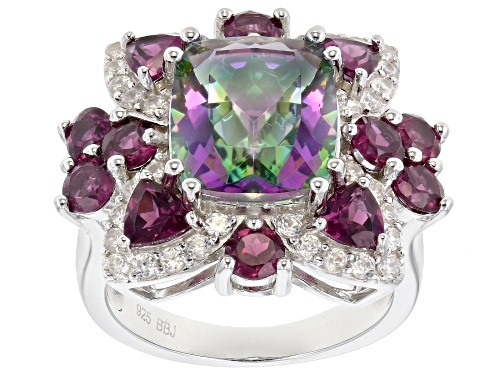 Photo of 3.57ct multi-color quartz, 2.33ctw rhodolite and .64ctw white zircon rhodium over silver ring - Size 8