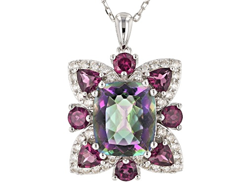 Photo of 5.83ctw Multi-color Quartz, Rhodolite & White Zircon rhodium over silver pendant With Chain