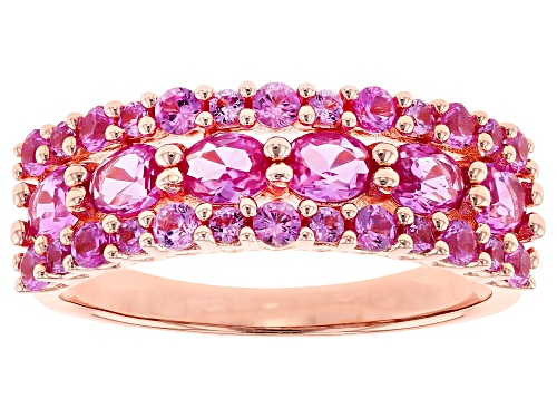 Photo of 1.79CTW OVAL AND ROUND LAB CREATED PINK SAPPHIRE 18K ROSE GOLD OVER SILVER BAND RING - Size 9