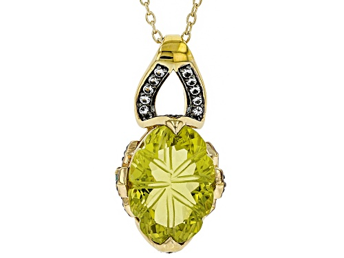 Photo of 5.45ct Canary Yellow Quartz, .30ctw White Topaz & Green Onyx 18k Gold Over Silver Slide W/Chain