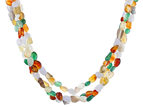 Photo of Free-Form Multi-Gemstone Nugget Sterling Silver 3-Strand Necklace - Size 20
