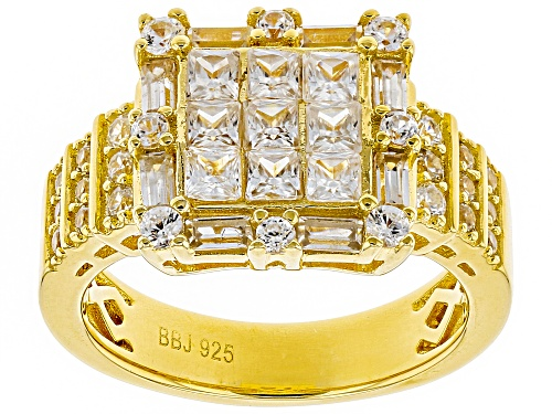 Photo of 2.36CTW ROUND,SQUARE,BAGUETTE WHITE ZIRCON 18K YELLOW GOLD OVER STERLING SILVER RING - Size 7