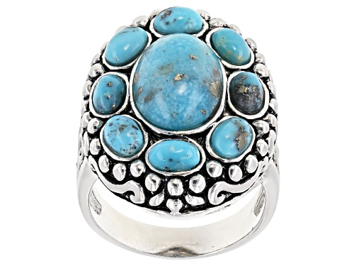 Photo of 12x9mm & 5x3mm Oval Cabochon Turquoise Sterling  Silver Ring - Size 7