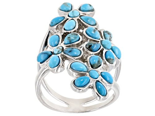 Photo of 4x2.5mm Pear Shape & 2.5mm Round Turquoise Sterling Silver Flower Ring - Size 7