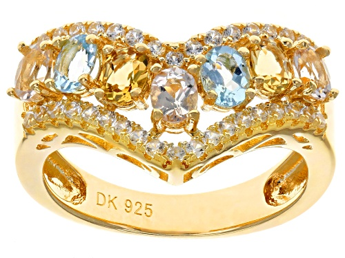 Photo of 1.21ctw Morganite, Yellow Beryl, Aquamarine & Zircon 18k Yellow Gold Over Silver Chevron Ring - Size 6