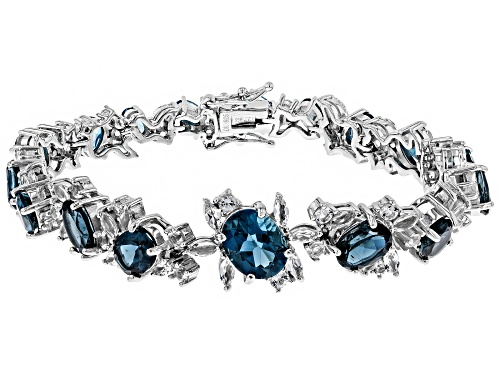 Photo of 15.20ctw London Blue Topaz with 5.69ctw White Topaz Rhodium Over Sterling Silver Bracelet - Size 8