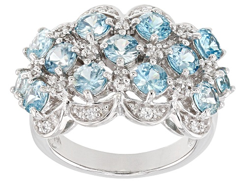Photo of 4.03CTW ROUND BLUE ZIRCON WITH .36CTW WHITE ZIRCON RHODIUM OVER STERLING SILVER RING - Size 10