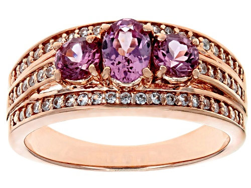 Photo of 1.03ctw Oval & Round Masasi Bordeaux Garnet™ W/ .29ctw Zircon 18k Rose Gold Over Silver Ring - Size 8