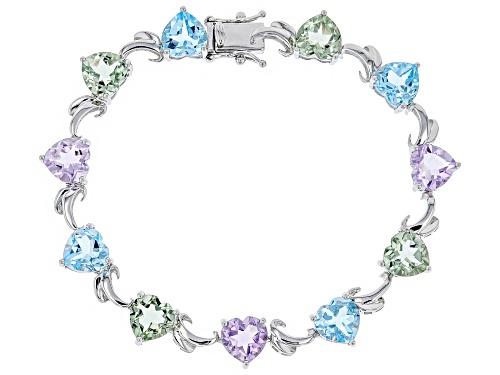 Photo of 16.96ctw Heart Shape Glacier Topaz, Prasiolite & Lavender Amethyst Rhodium Over Silver Bracelet - Size 7.25