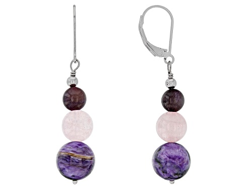 Photo of ROUND CHAROITE AND ROUND ROSE QUARTZ 3-BEAD RHODIUM OVER SILVER DANGLE EARRINGS