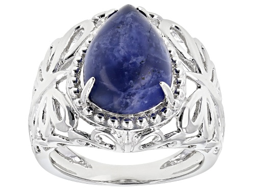 Photo of 14x10MM PEAR SHAPE CABOCHON SODALITE RHODIUM OVER STERLING SILVER SOLITAIRE RING - Size 10