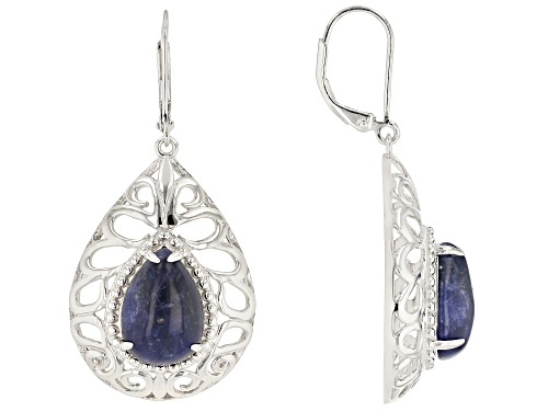 Photo of 14X10MM PEAR SHAPE CABOCHON SODALITE RHODIUM OVER STERLING SILVER DANGLE EARRINGS
