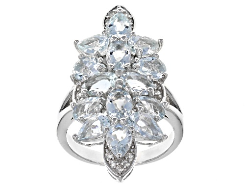 Photo of 4.17ctw oval & pear shape aquamarine with .21ctw round white zircon rhodium over silver ring - Size 7