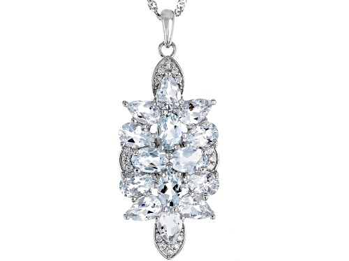 Photo of 4.17ctw oval & pear shape aquamarine with .21ctw white zircon rhodium over silver pendant w/chain