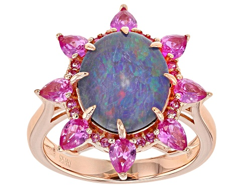 Photo of 12x10mm Australian Opal Triplet and 1.30ctw Lab Created Pink Sapphire 18k Rose Gold Over Silver Ring - Size 9