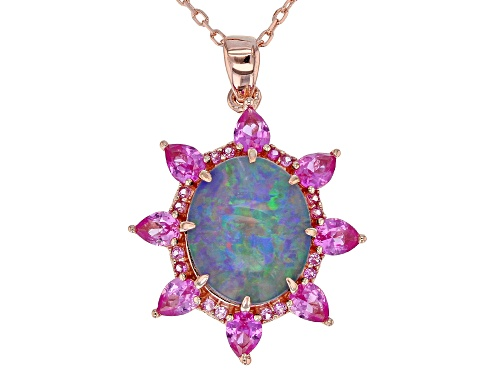 Photo of Australian Opal Triplet with 1.30ctw Lab Pink Sapphire 18k Rose Gold Over Silver Pendant with Chain