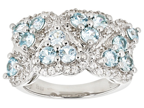 Photo of 1.90CTW ROUND BLUE ZIRCON WITH .44CTW WHITE ZIRCON RHODIUM OVER STERLING SILVER RING - Size 7