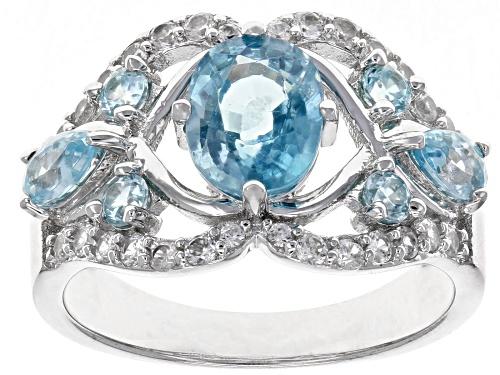 Photo of 2.09ctw Mixed Shape Blue Zircon & .43ctw White Zircon Rhodium Over Silver Ring - Size 8