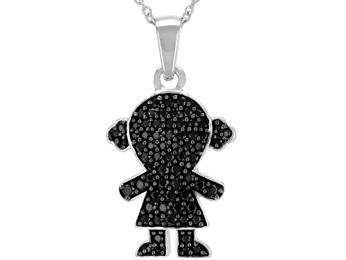 """Photo of .74ctw Round Black Spinel Rhodium Over Sterling Silver """"Girl"""" Pendant With Chain"""