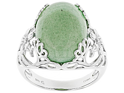 Photo of 16x12mm Oval Cabochon Green Aventurine Sterling Silver Solitaire Ring - Size 7
